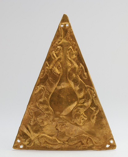 Triangular Plaque with Decoration of Two Striding Tigers and a Mythical Creature in the Form of a Human-Headed Leopard, repoussé gold, China, 5th-3rd century BCE,  Harvard Art Museums/Arthur M. Sackler Museum, Bequest of Grenville L. Winthrop, 1943.52.84.C